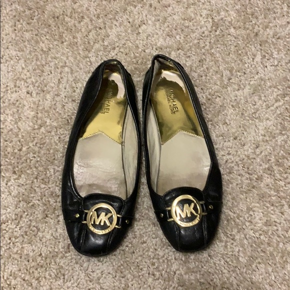 Michael Kors Shoes - Black/gold MK flats